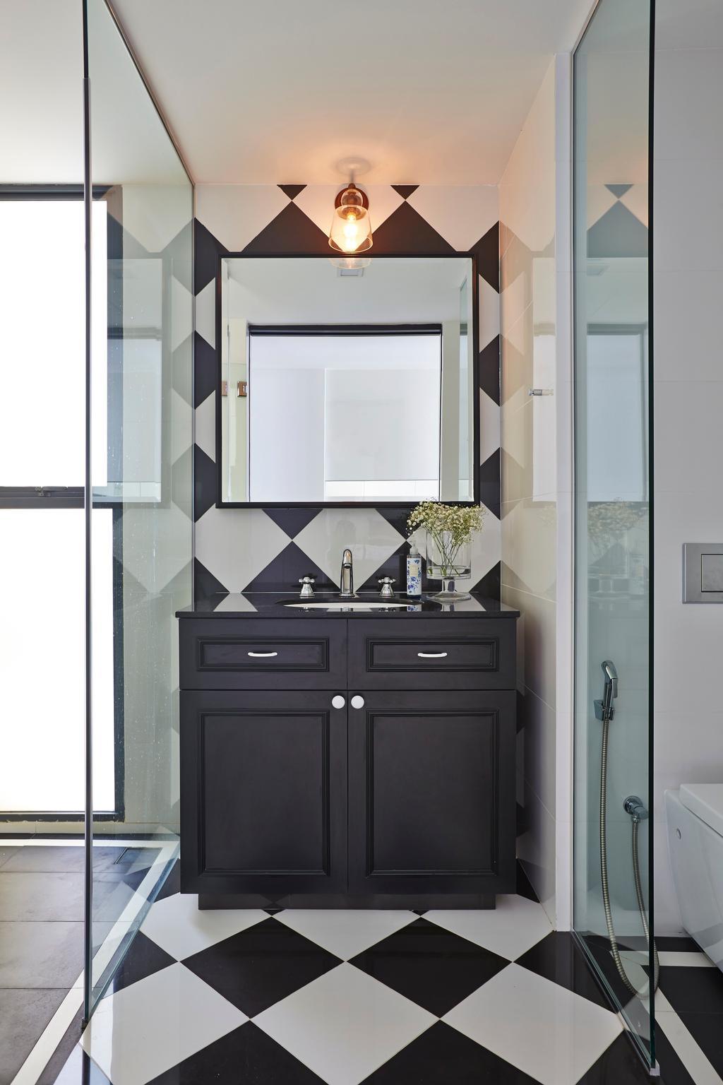 Vintage, Condo, Bathroom, River Valley, Interior Designer, Fuse Concept, Tiles, New York, Monochrome, Glass Screen, Vanity Cabinet, Vintage Cabinet, American Flavour, Furniture