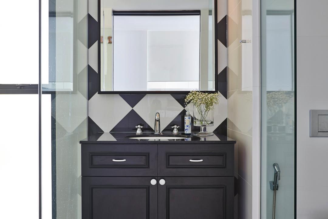 River Valley, Fuse Concept, Vintage, Bathroom, Condo, Tiles, New York, Monochrome, Glass Screen, Vanity Cabinet, Vintage Cabinet, American Flavour, Furniture