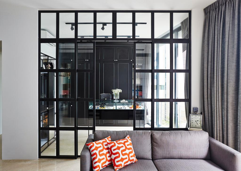 Vintage, Condo, Living Room, River Valley, Interior Designer, Fuse Concept, Sofa, Partition, Grid Partition, Red Pillow, Red Cushions, Cushions, Grey Sofa, Curtains, Monochrome, See Through, Dining Room, Indoors, Interior Design, Room