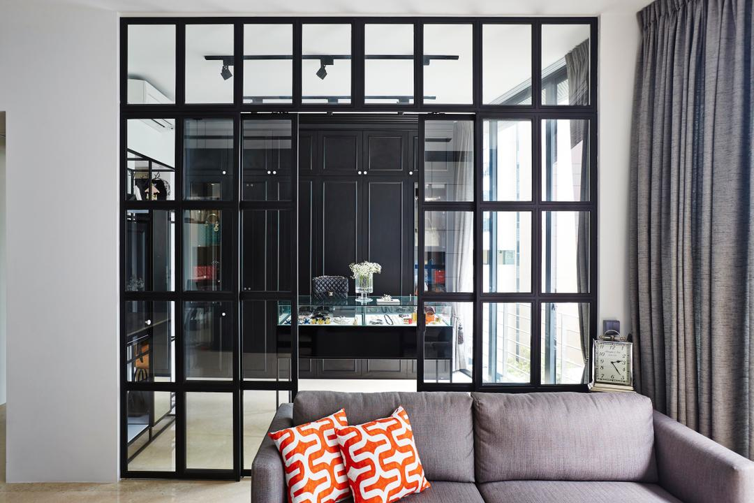 River Valley, Fuse Concept, Vintage, Living Room, Condo, Sofa, Partition, Grid Partition, Red Pillow, Red Cushions, Cushions, Grey Sofa, Curtains, Monochrome, See Through, Dining Room, Indoors, Interior Design, Room