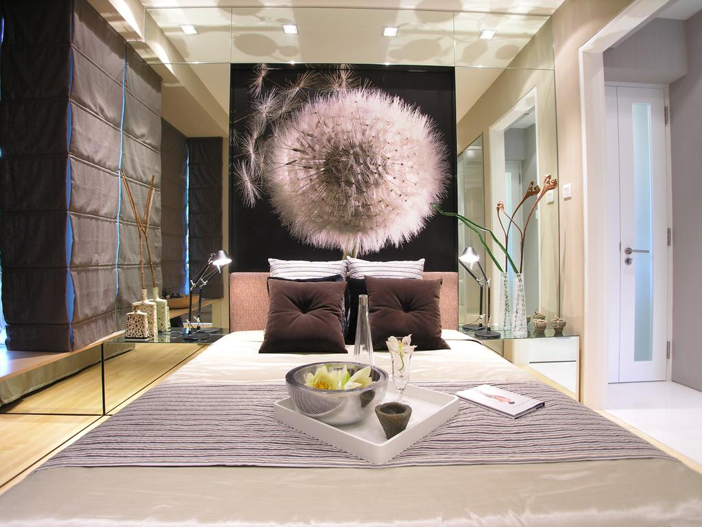 Emily Residence Show-unit 1, Commercial, Architect, Wallflower Architecture + Design, Transitional, Bedroom, Wall Art, Bedside Decor, Mirror, Bed Throw, Bed, Hotel, Suite, Showroom, Opulent, Elegant, Luxe, Luxurious, Dining Table, Furniture, Table, Indoors, Interior Design