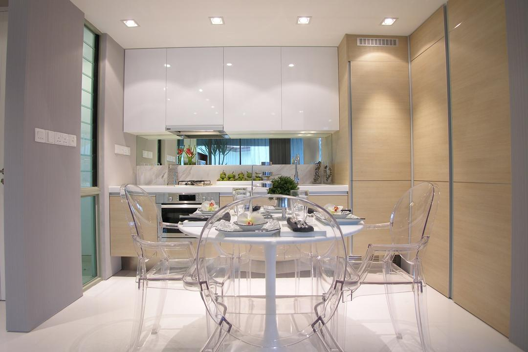 Emily Residence Show-unit 1, Wallflower Architecture + Design, Transitional, Dining Room, Commercial, Ghost Furniture, Transparent Chair, Transparent, See Through, Recessed Lighting, Glass, Indoors, Interior Design, Room, Chair, Furniture