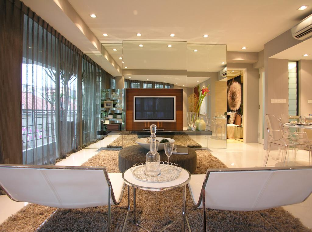 Emily Residence Show-unit 1, Commercial, Architect, Wallflower Architecture + Design, Transitional, Living Room, Mirror, Lounge Chair, Rug, Carpet, Tile, Showroom, Suite, Hotel, Luxurious, Elegant, Opulent, Luxe, Tv Console, Curtain, Electronics, Entertainment Center, Indoors, Interior Design, Room