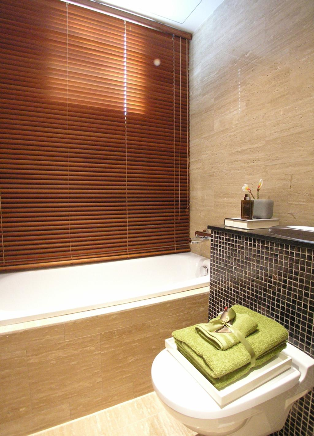 Emily Residence Show-unit 2, Commercial, Architect, Wallflower Architecture + Design, Contemporary, Bathroom, Shower, Bathtub, Blinds, Water Closet, Toilet Bowl, Mosaic Tile, Tile