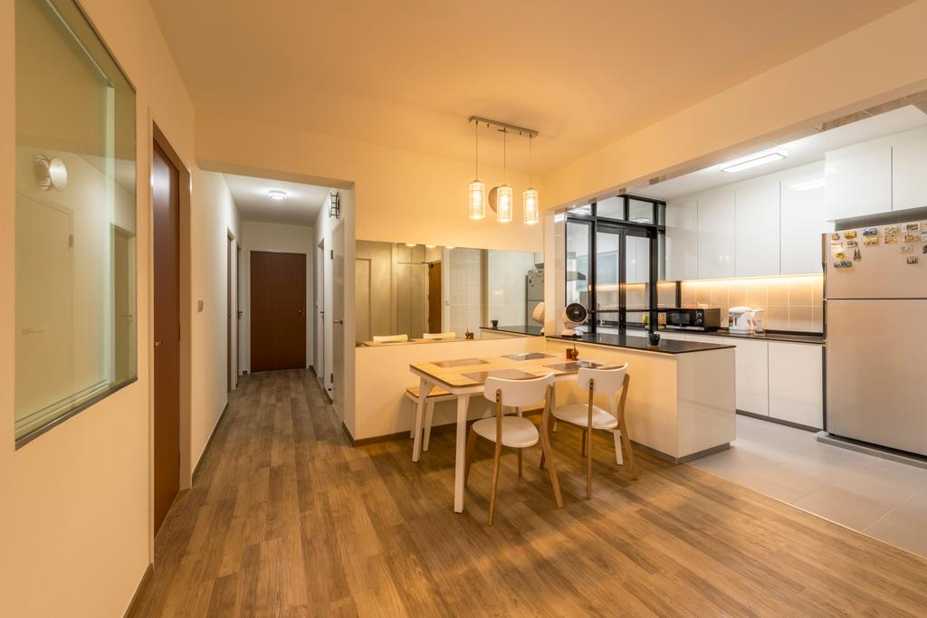 HDB, Dining Room, Sengkang West Way (Block 452A), Interior Designer, Colourbox Interior, Dining Table, Furniture, Table, Flooring