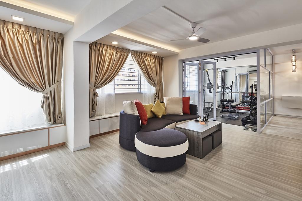 Modern, HDB, Living Room, Bishan Street 23 (Block 215), Interior Designer, Voila, Exercise, Fitness, Gym, Sport, Sports, Working Out, Indoors, Interior Design, Sink