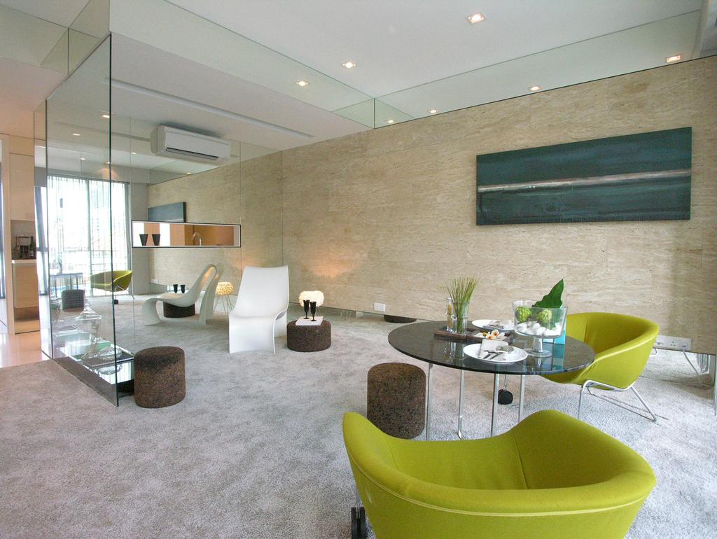 Emily Residence Show-unit 2, Commercial, Architect, Wallflower Architecture + Design, Contemporary, Living Room, Wall Art, Recessed Lighting, Mirror, Glass Partition, Carpet, Chair, Furniture, Bowl, Indoors, Interior Design, Dining Table, Table