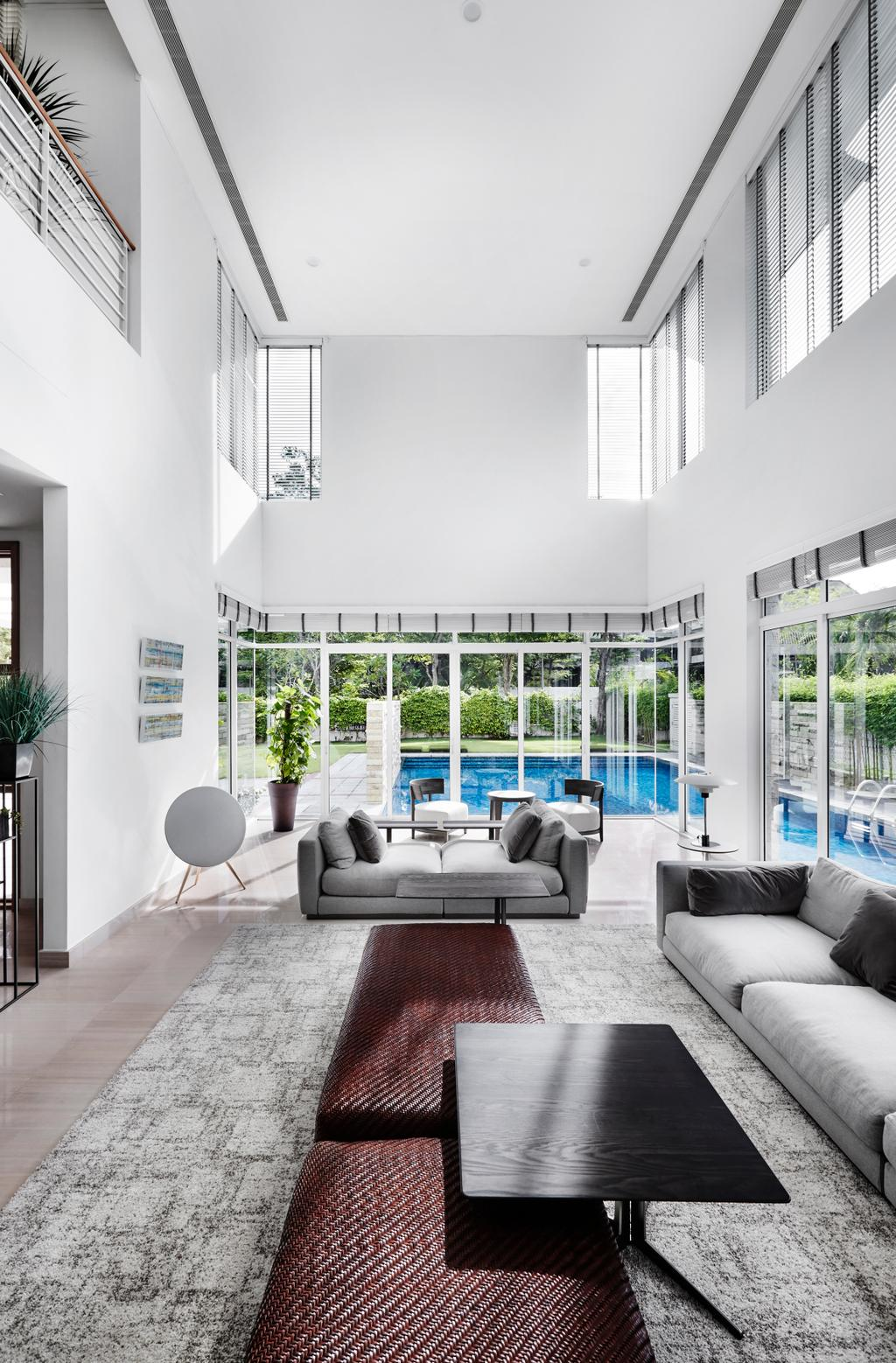 Contemporary, Landed, Living Room, Cable Road, Interior Designer, Third Avenue Studio, High Ceiling, High, HDB, Building, Housing, Indoors, Loft, Furniture, Table, Balcony