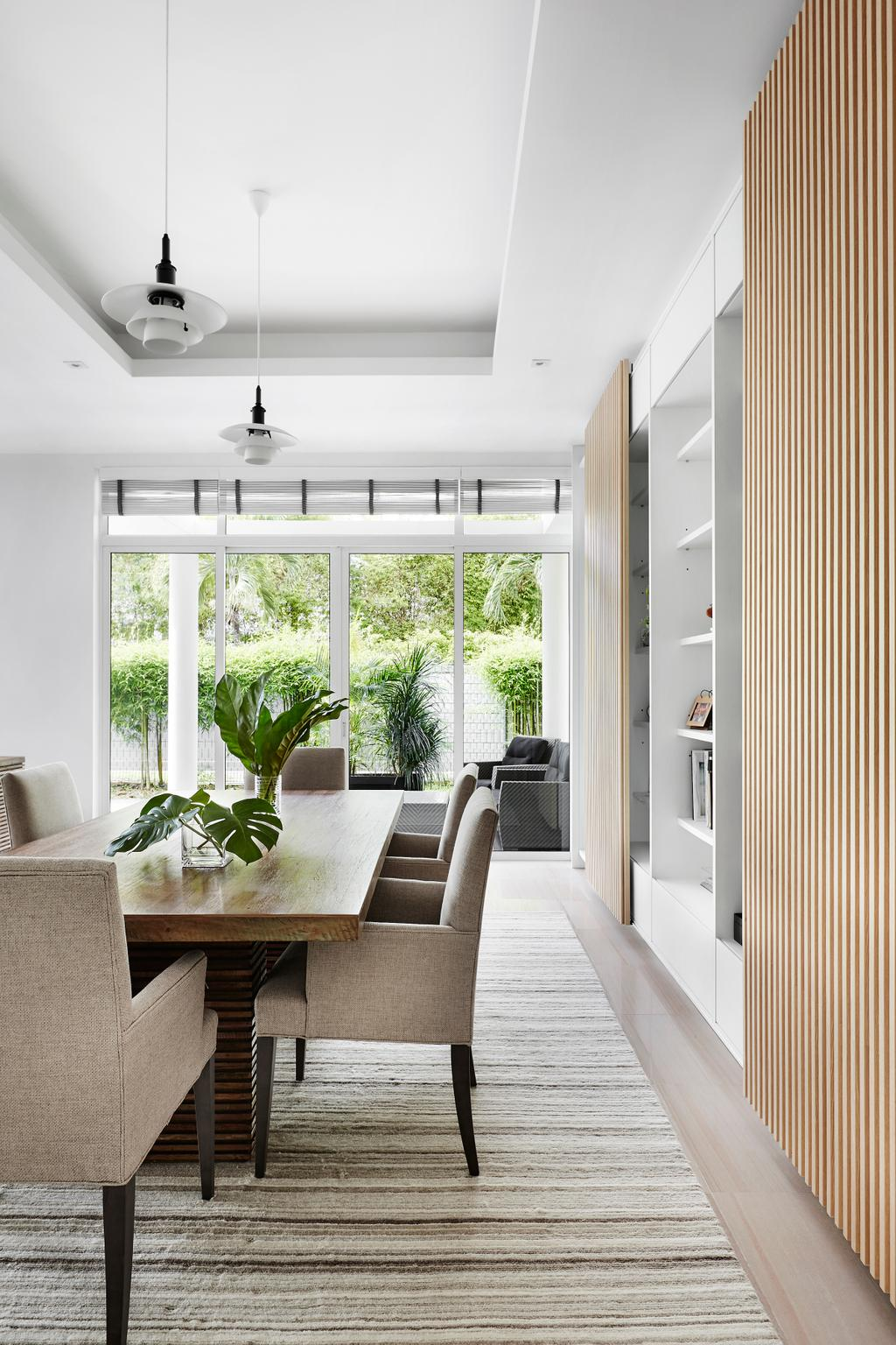 Contemporary, Landed, Dining Room, Cable Road, Interior Designer, Third Avenue Studio, Flora, Jar, Plant, Potted Plant, Pottery, Vase, Couch, Furniture, Indoors, Interior Design