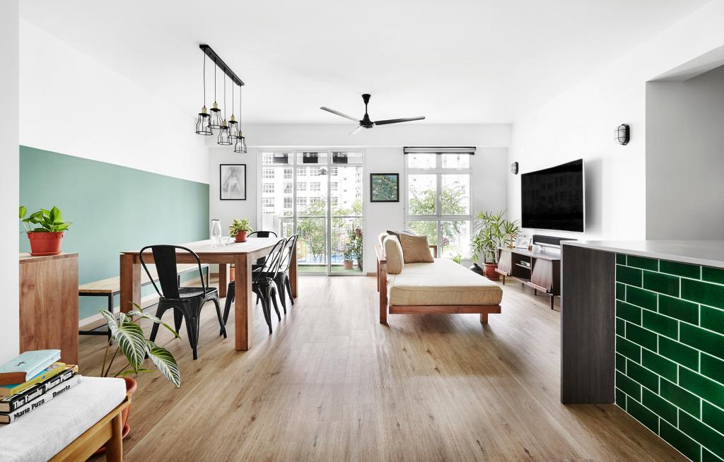 Minimalistic, HDB, Living Room, Compassvale Crescent, Interior Designer, Third Avenue Studio, Pastel Green, Jade Green, Jade, Subway Tiles, Tiles, Jade Tiles, Flora, Jar, Plant, Potted Plant, Pottery, Vase, Dining Table, Furniture, Table, Flooring, Dining Room, Indoors, Interior Design, Room