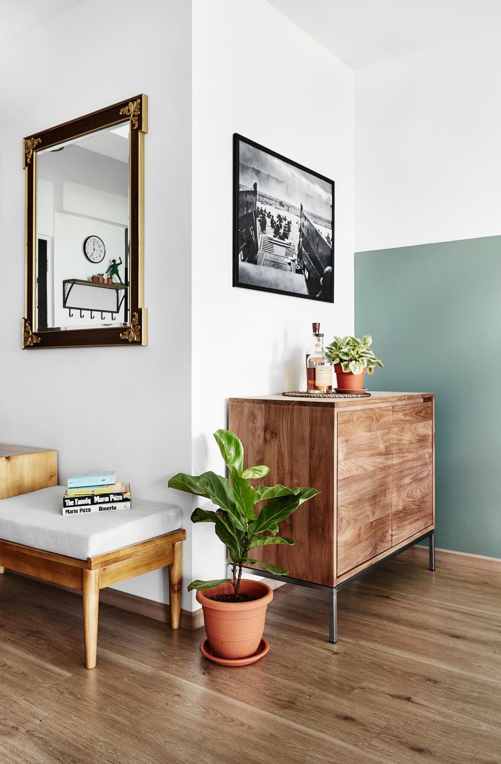 Minimalistic, HDB, Living Room, Compassvale Crescent, Interior Designer, Third Avenue Studio, Furniture, Sideboard, Flora, Ivy, Plant