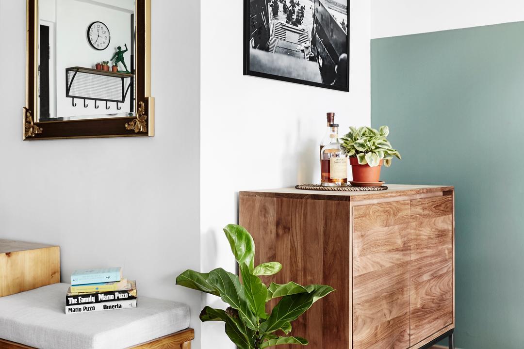 Compassvale Crescent, Third Avenue Studio, Minimalistic, Living Room, HDB, Furniture, Sideboard, Flora, Ivy, Plant