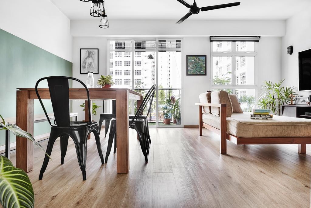 Minimalistic, HDB, Dining Room, Compassvale Crescent, Interior Designer, Third Avenue Studio, Chair, Furniture, Flooring, Dining Table, Table, Indoors, Interior Design, Room, Hardwood, Wood