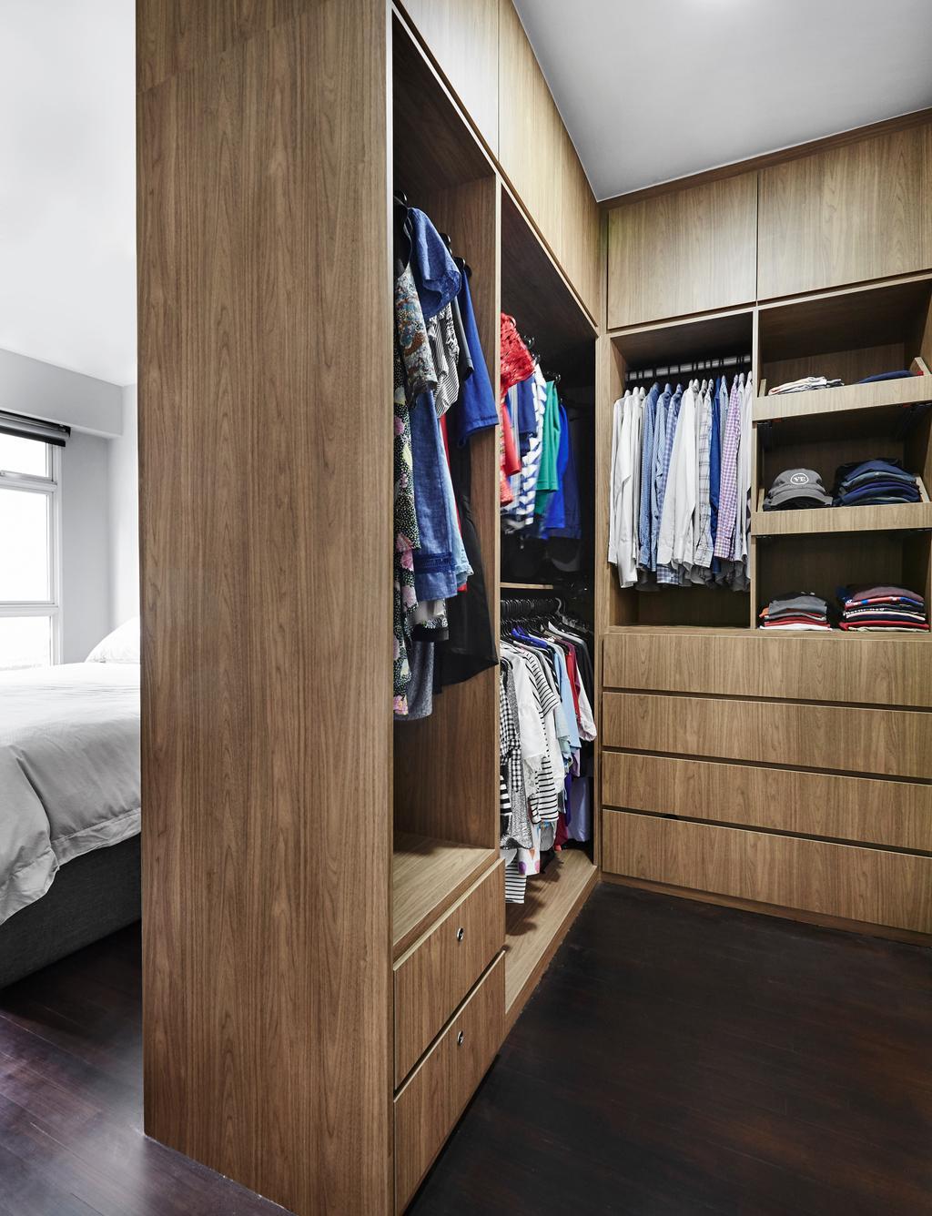 Minimalistic, HDB, Bedroom, Compassvale Crescent, Interior Designer, Third Avenue Studio, Wardrobe, Closet, Furniture, Home Decor, Linen