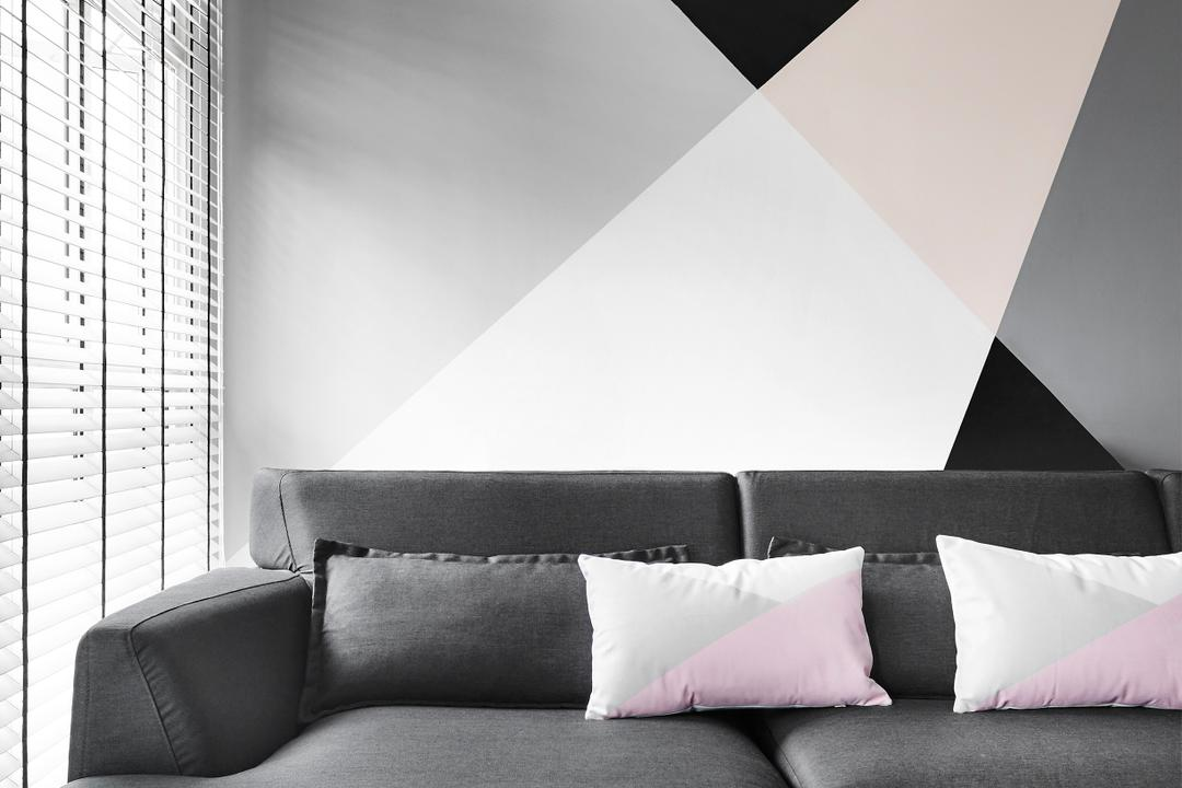 Compassvale Drive, Third Avenue Studio, Contemporary, Living Room, HDB, Airy, Feature Wall, Pastel, Geometric, Geometry, Baby Pink, Monochrome