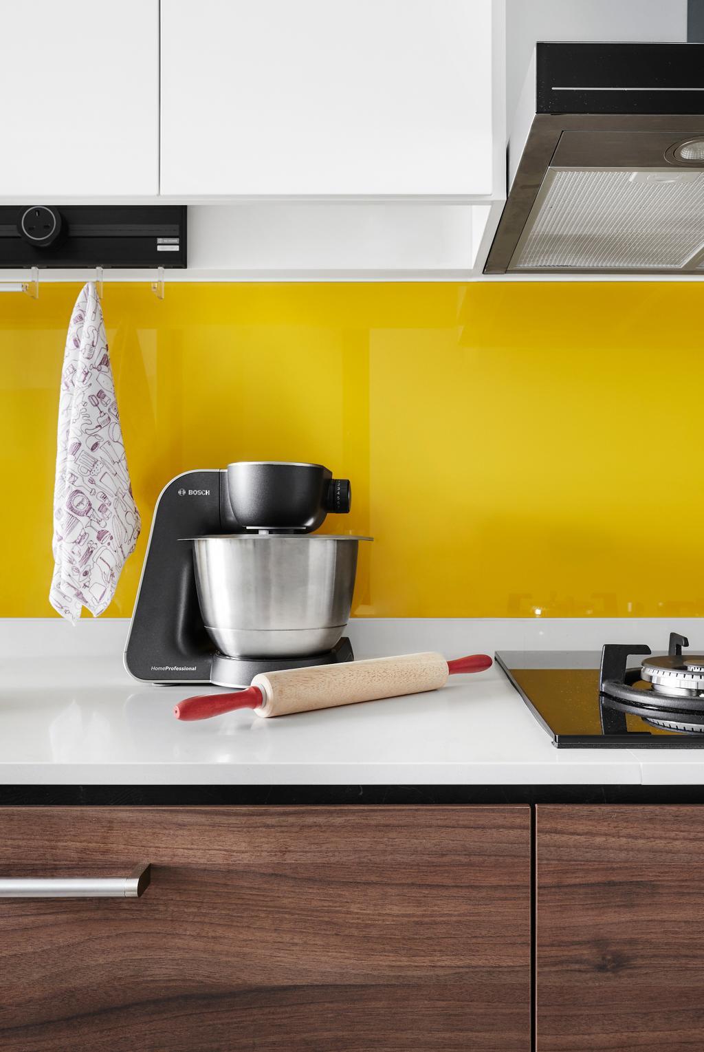Contemporary, HDB, Kitchen, Compassvale Drive, Interior Designer, Third Avenue Studio, Backsplash, Yellow, Bright Yellow, Solid Countertop