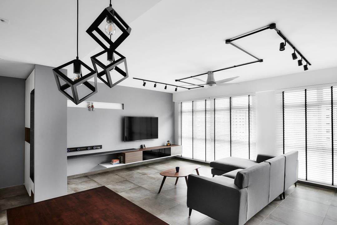 Compassvale Drive, Third Avenue Studio, Contemporary, Living Room, HDB, Monochrome, Black And White, Grey, Simple, Bright And Airy, Building, Housing, Indoors, Loft
