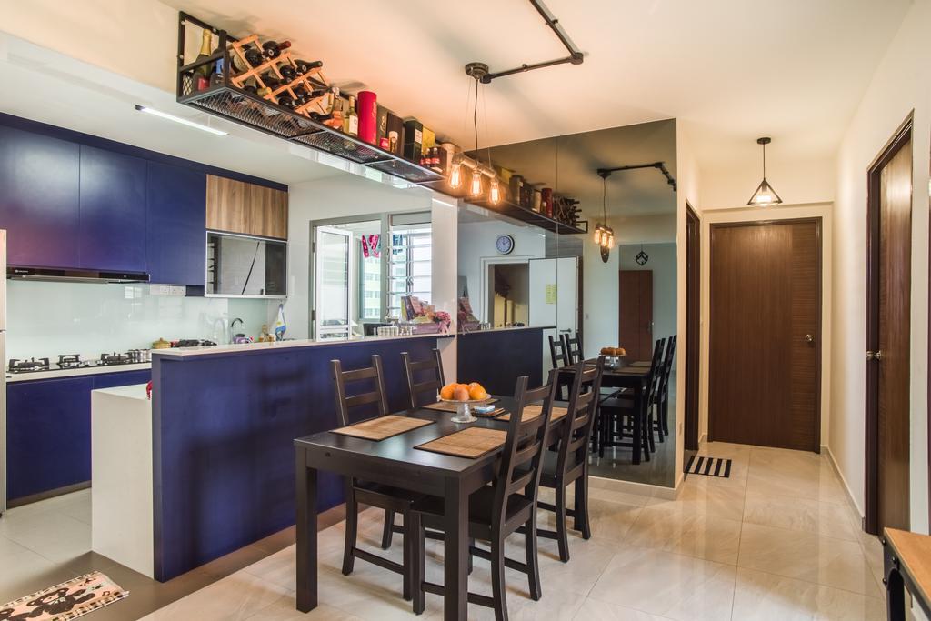 Eclectic, HDB, Dining Room, Boon Lay Avenue (Block 218D), Interior Designer, Urban Habitat Design, Dining Table, Furniture, Table, Indoors, Interior Design, Room, Building, Housing, Loft