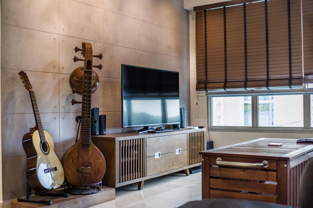 Eclectic, HDB, Living Room, Boon Lay Avenue (Block 218D), Interior Designer, Urban Habitat Design, Leisure Activities, Lute, Mandolin, Music, Musical Instrument, Indoors, Interior Design, Kitchen, Room