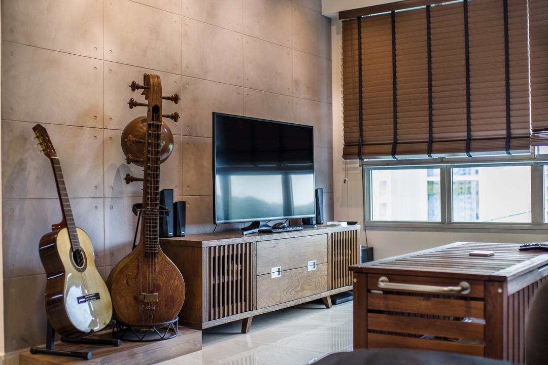 Boon Lay Avenue (Block 218D), Urban Habitat Design, Eclectic, Living Room, HDB, Leisure Activities, Lute, Mandolin, Music, Musical Instrument, Indoors, Interior Design, Kitchen, Room