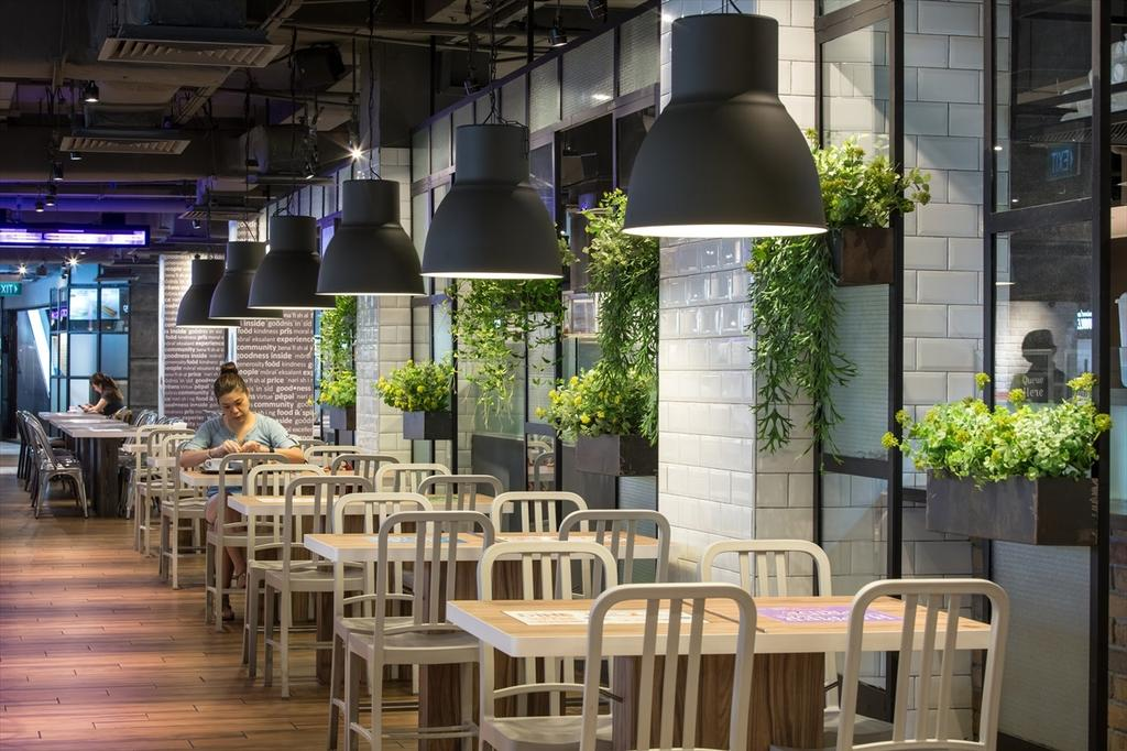 Foodfare Clifford Centre, Commercial, Architect, Wallflower Architecture + Design, Industrial, Flora, Jar, Plant, Potted Plant, Pottery, Vase, Human, People, Person, Dining Table, Furniture, Table, Restaurant, Planter, Cafe, Crib, Bench