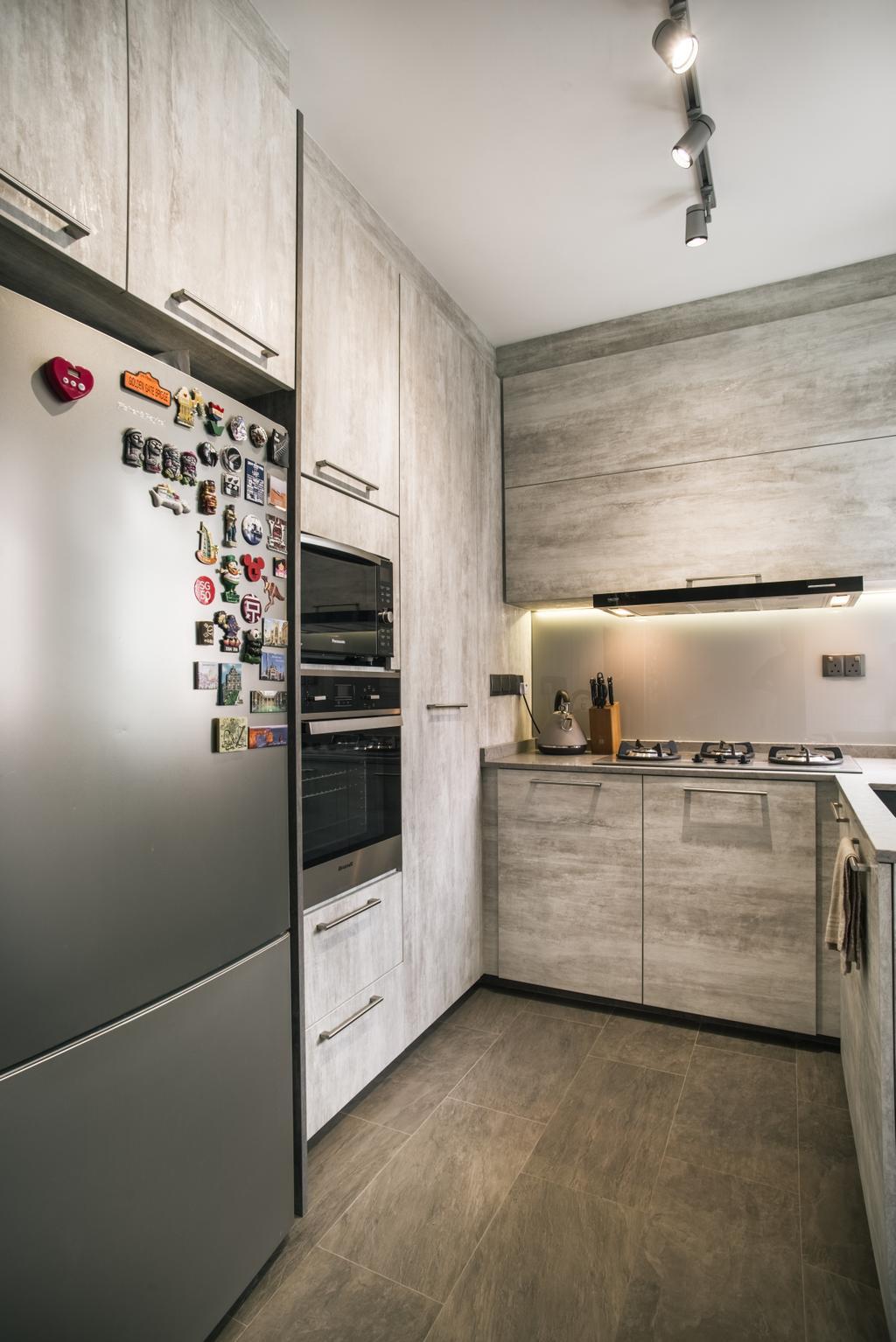 Modern, HDB, Kitchen, Compassvale Link (Block 277D), Interior Designer, Urban Habitat Design, Appliance, Electrical Device, Oven, Fridge, Refrigerator, Electronics, Entertainment Center
