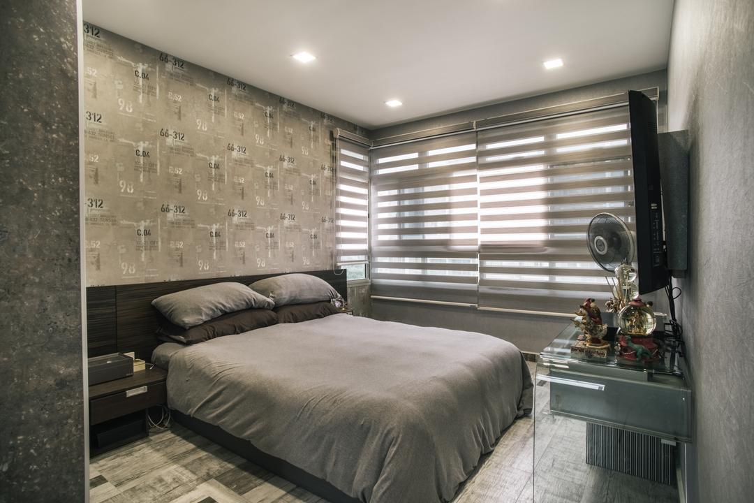 Compassvale Link (Block 277D), Urban Habitat Design, Modern, Bedroom, HDB, Granite, Bed, Furniture, Indoors, Interior Design, Room, Lighting