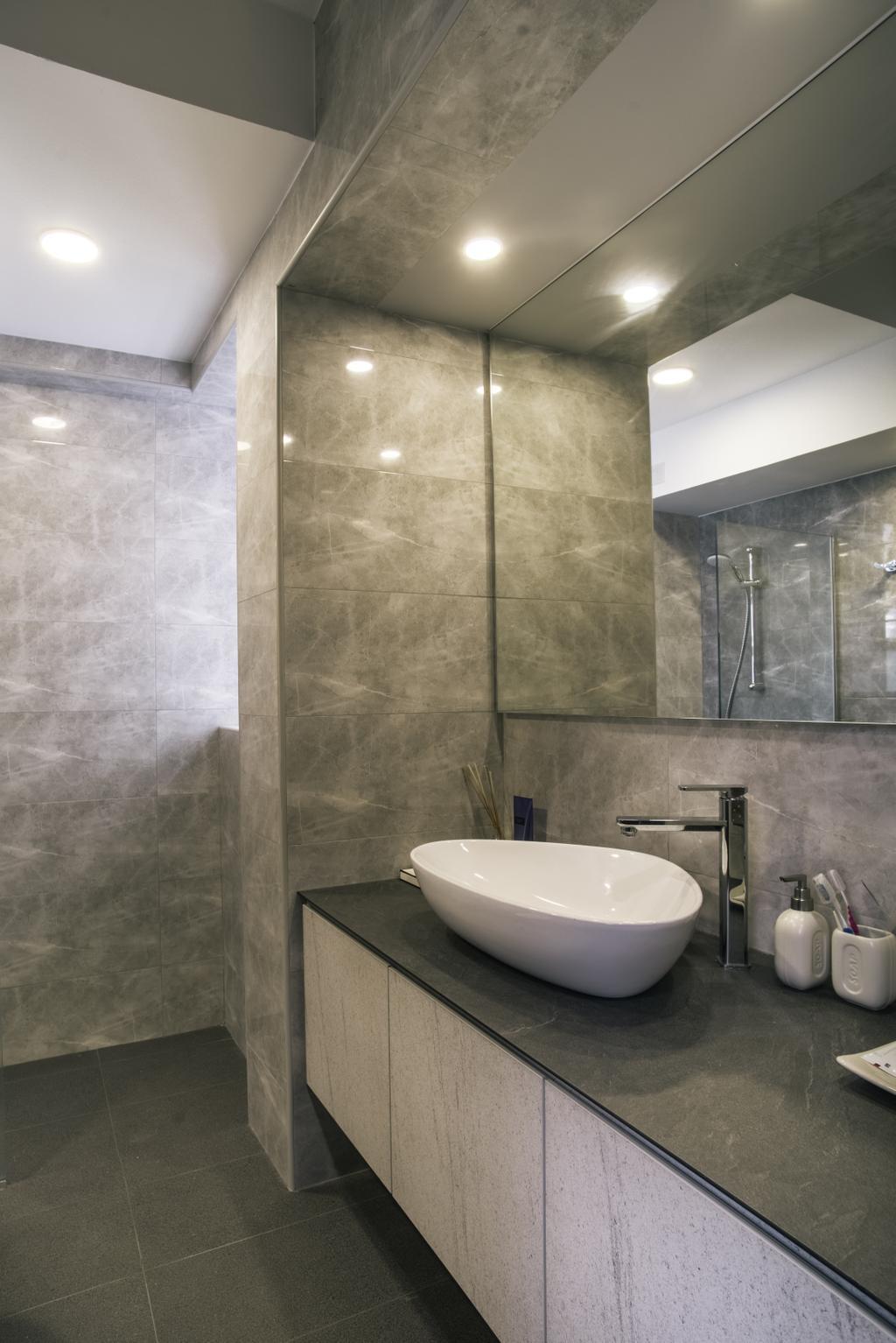 Modern, HDB, Bathroom, Compassvale Link (Block 277D), Interior Designer, Urban Habitat Design, Bottle, Indoors, Interior Design, Room, Toilet
