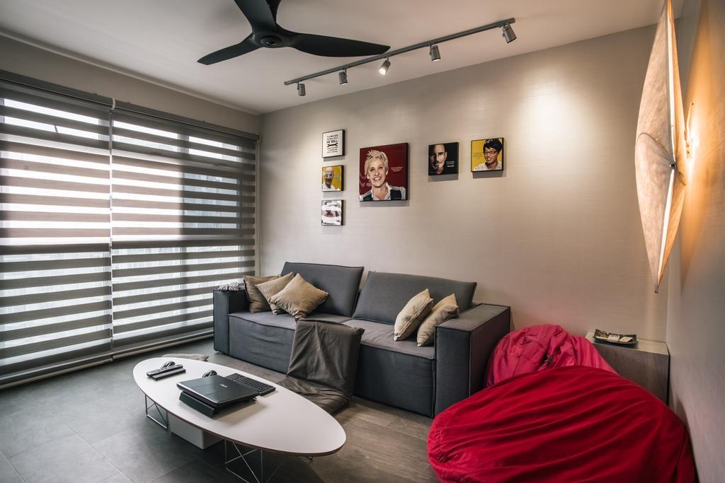 Modern, HDB, Living Room, Compassvale Link (Block 277D), Interior Designer, Urban Habitat Design, Couch, Furniture, Indoors, Interior Design