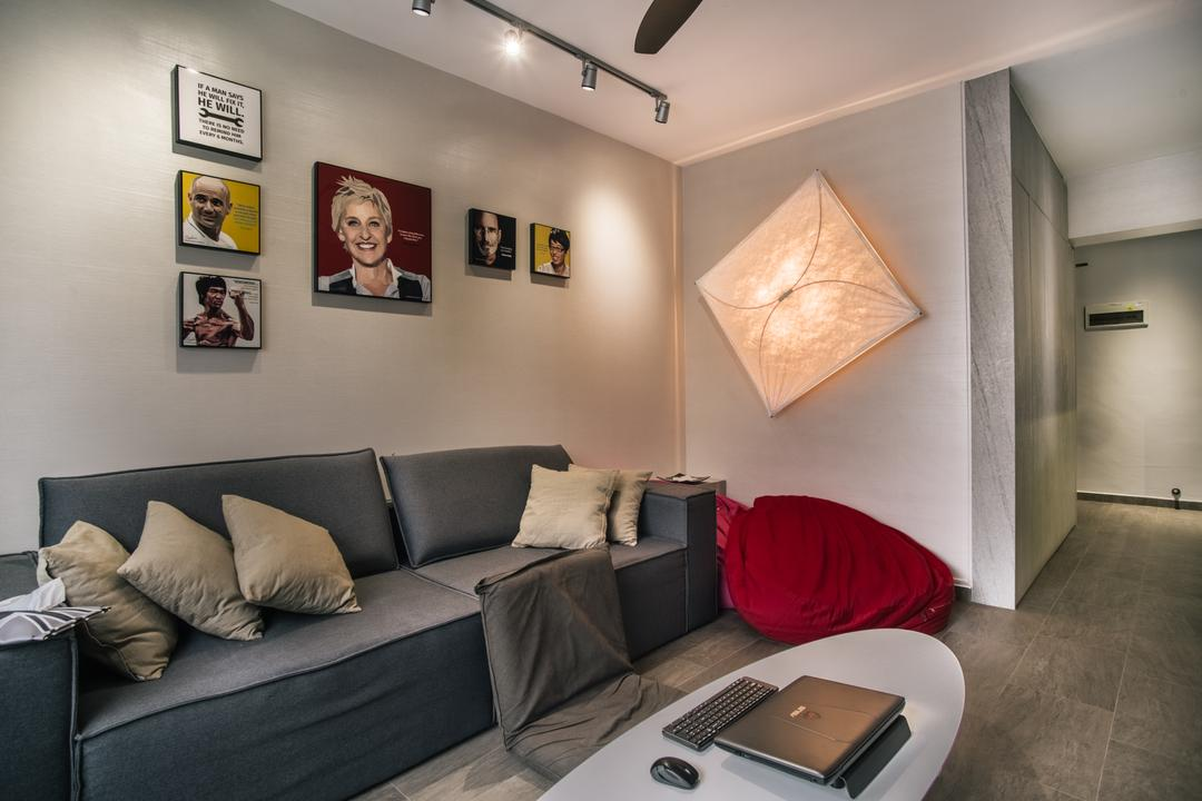 Compassvale Link (Block 277D), Urban Habitat Design, Modern, Living Room, HDB, Couch, Furniture, Tile