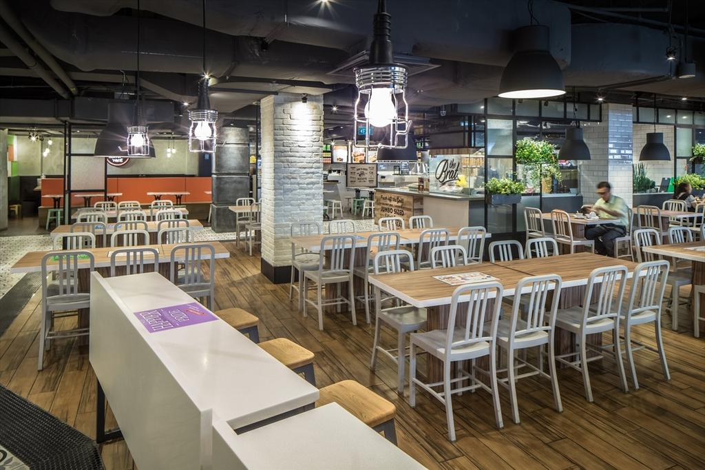 Foodfare Clifford Centre, Commercial, Architect, Wallflower Architecture + Design, Industrial, Chair, Furniture, Dining Table, Table, Food, Food Court, Restaurant, Lighting