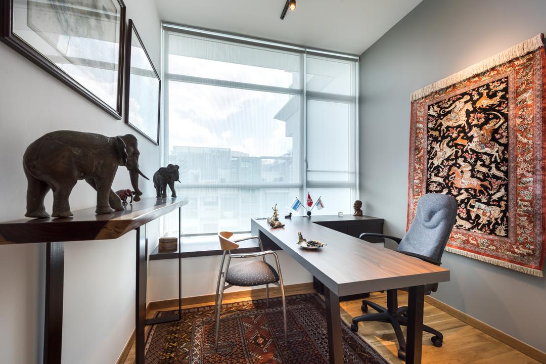 Nathan Suites, Third Avenue Studio, Contemporary, Study, Condo, Dining Room, Indoors, Interior Design, Room, Chair, Furniture, Art, Sculpture, Couch, Animal, Elephant, Mammal, Wildlife, Dining Table, Table