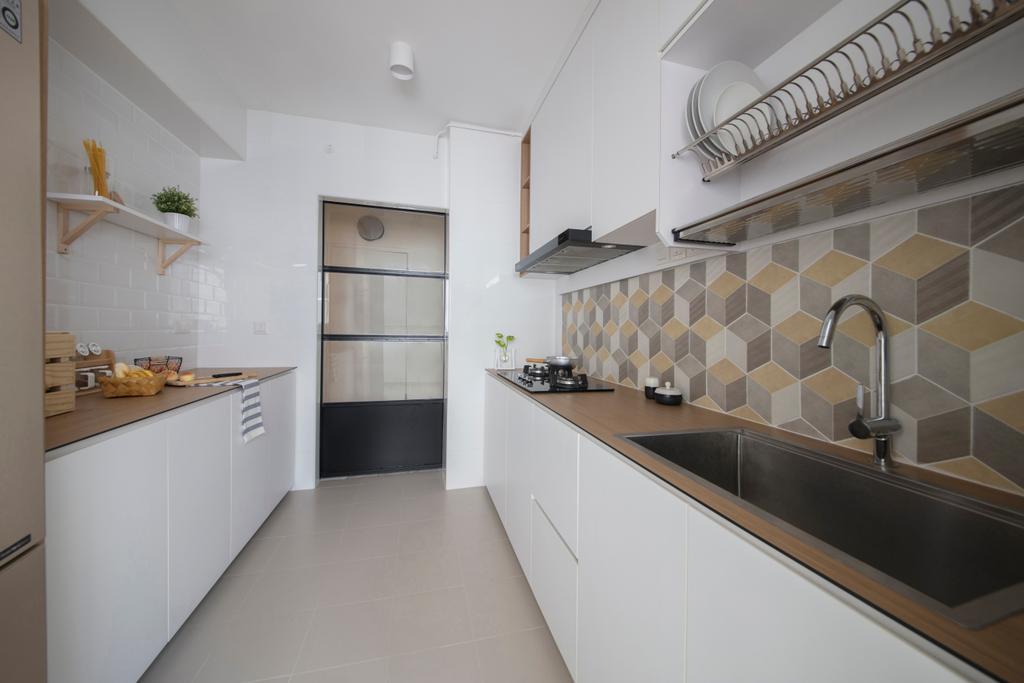 Minimalistic, HDB, Kitchen, Keat Hong (Block 812A), Interior Designer, KDOT, Backsplash, Cubic Tiles, Graphic Tiles, Patterned Tiles, Patterns, Kompac, Thin Countertop, White And Woody