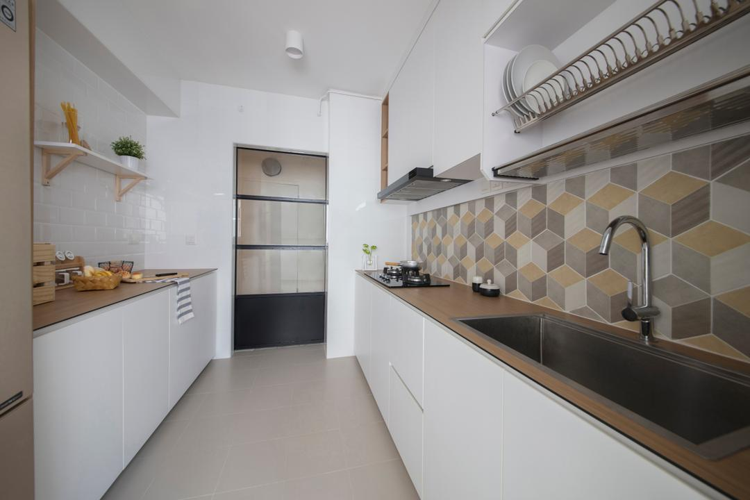 Keat Hong (Block 812A), KDOT, Minimalistic, Kitchen, HDB, Backsplash, Cubic Tiles, Graphic Tiles, Patterned Tiles, Patterns, Kompac, Thin Countertop, White And Woody