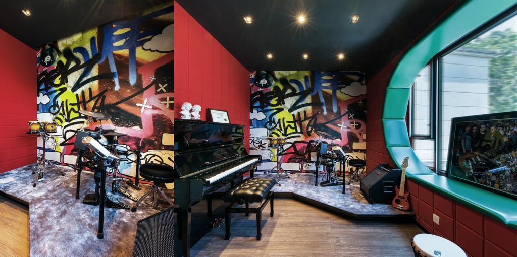 摩登, 獨立屋, 書房, Casa Marina, 室內設計師, 畫斯室內設計, Leisure Activities, Music, Musical Instrument, Piano, Graffiti