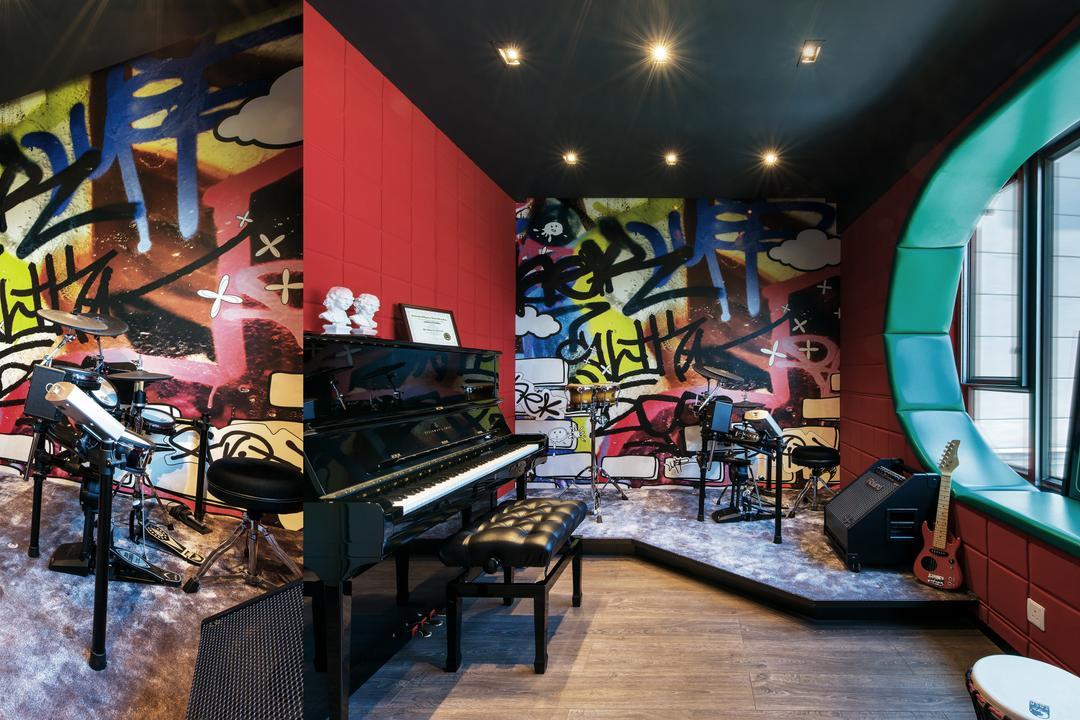 Casa Marina, 畫斯室內設計, 摩登, 書房, 獨立屋, Leisure Activities, Music, Musical Instrument, Piano, Graffiti