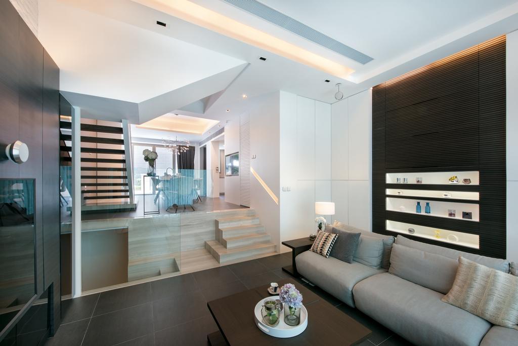 摩登, 獨立屋, 客廳, Casa Marina, 室內設計師, 畫斯室內設計, Couch, Furniture, Banister, Handrail, Staircase, Indoors, Room, Tabletop, Interior Design