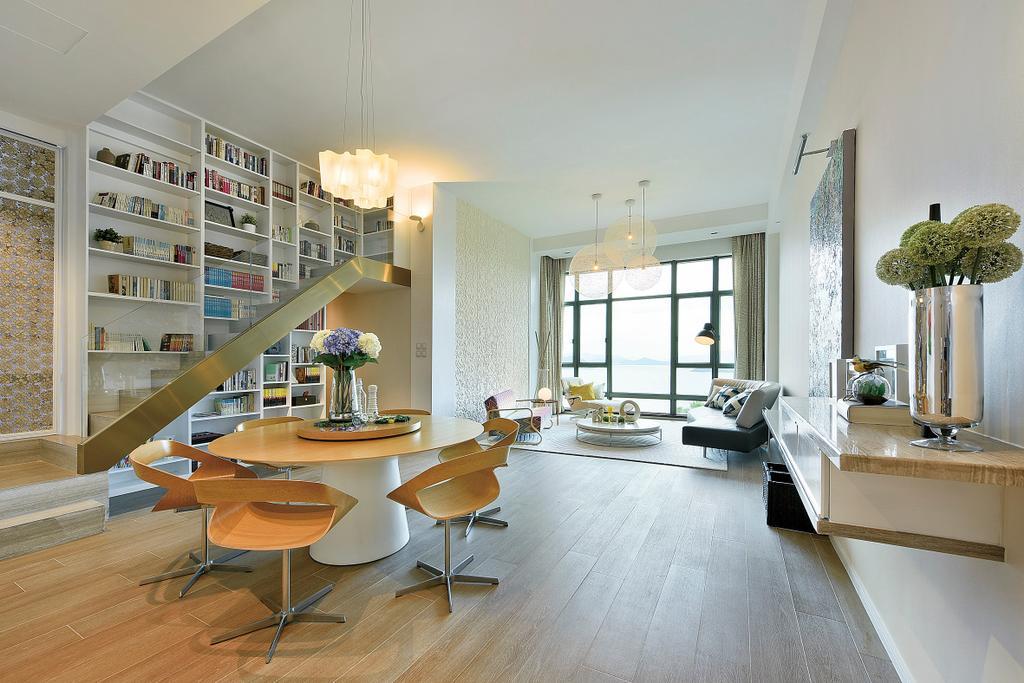 摩登, 私家樓, 飯廳, Deerhill Bay, 室內設計師, 畫斯室內設計, 當代, 北歐, Plywood, Wood, Indoors, Interior Design, Room, Chair, Furniture, Flooring