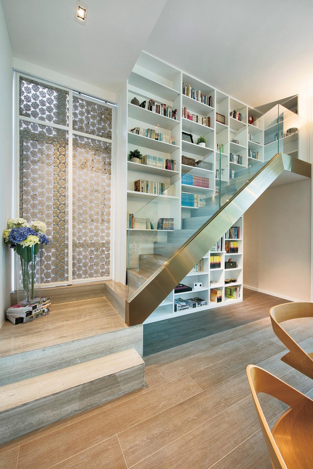 摩登, 私家樓, 飯廳, Deerhill Bay, 室內設計師, 畫斯室內設計, 當代, 北歐, Indoors, Interior Design, Banister, Handrail, Staircase, Bookcase, Furniture