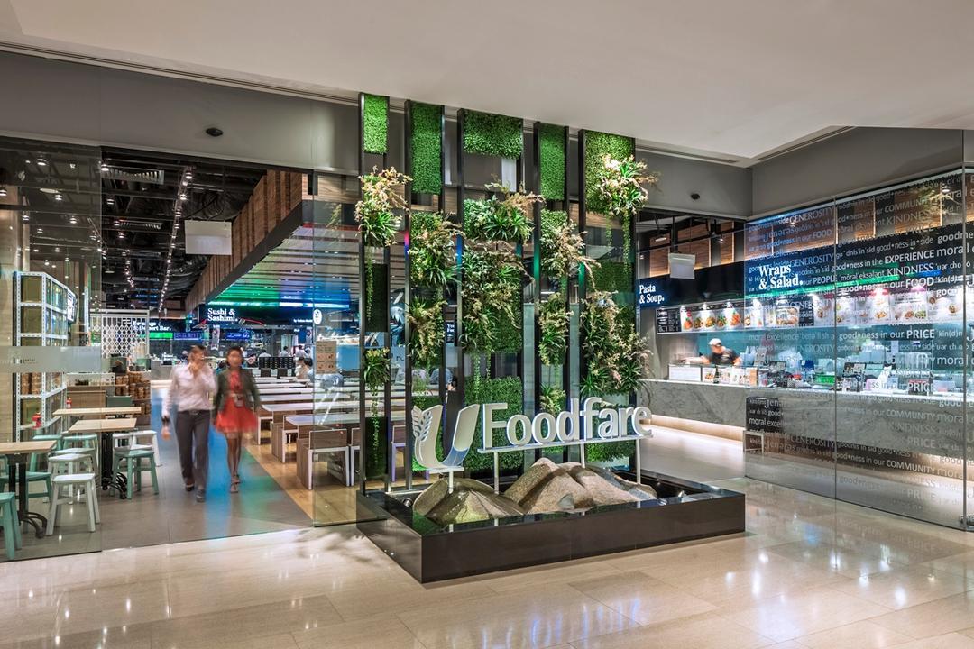Foodfare MBFC, Wallflower Architecture + Design, Industrial, Commercial, Flora, Jar, Plant, Potted Plant, Pottery, Vase, Human, People, Person, Market, Supermarket