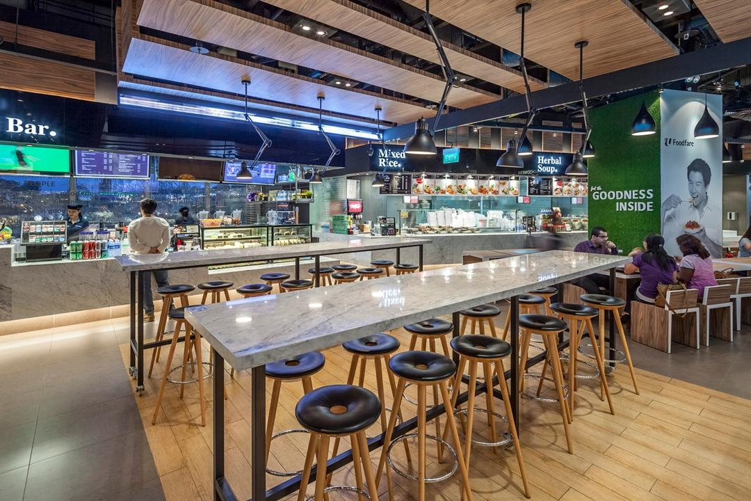 Foodfare MBFC, Wallflower Architecture + Design, Industrial, Commercial, Human, People, Person, Restaurant, Food, Food Court, Cafe, Bar Counter, Pub, Classroom, Indoors, Room, Dining Table, Furniture, Table, Chair