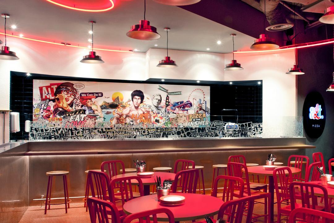 Alt. Pizza, designphase dba, Retro, Commercial, Restaurant, Diner, Food, Meal, Cafe, Dining Room, Indoors, Interior Design, Room, Dining Table, Furniture, Table