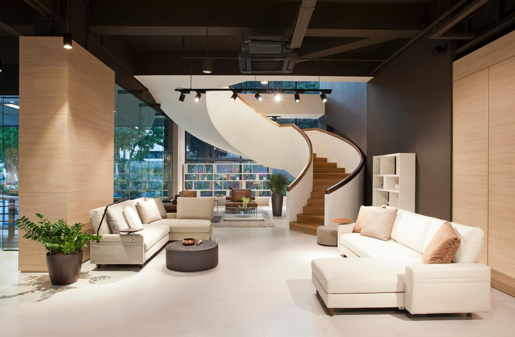 King Living Singapore, Commercial, Architect, designphase dba, Modern, Flora, Jar, Plant, Potted Plant, Pottery, Vase, Banister, Handrail, Staircase, Indoors, Interior Design, Couch, Furniture