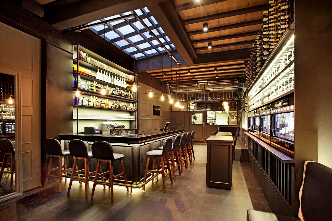 Napolean Food Wine Bar, designphase dba, Modern, Commercial, Chair, Furniture, Dining Table, Table, Diner, Food, Meal, Restaurant, Food Court