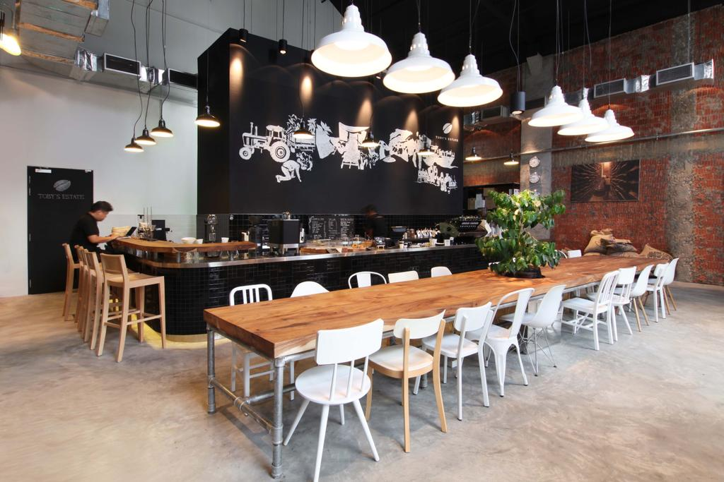 Toby's Coffee Estate, Commercial, Architect, designphase dba, Industrial, Dining Table, Furniture, Table, Dining Room, Indoors, Interior Design, Room, Light Fixture, Lighting, Restaurant
