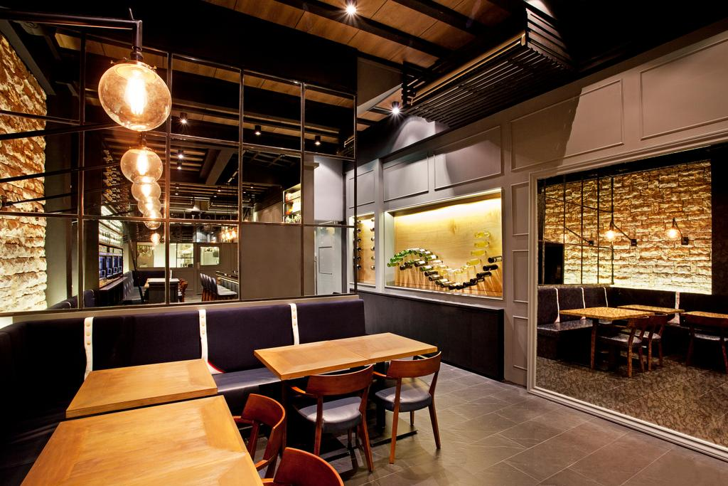 Napolean Food Wine Bar, Commercial, Architect, designphase dba, Modern, Couch, Furniture, Lighting, Dining Table, Table, Cafe, Restaurant, Chair