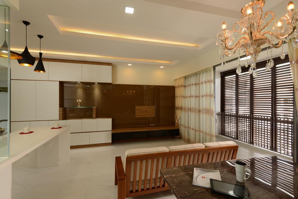 Contemporary, Condo, Living Room, The Lanai, Interior Designer, 96 Designers Group, Chandelier, Lamp, Dining Room, Indoors, Interior Design, Room