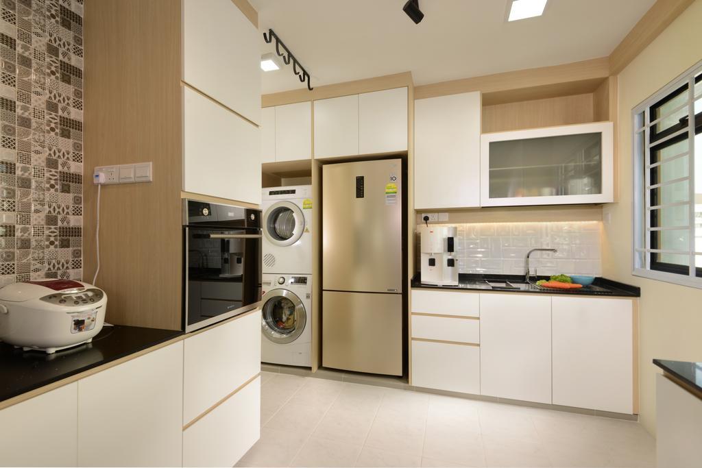 HDB, Kitchen, Anchorvale Link (Block 316A), Interior Designer, 96 Designers Group