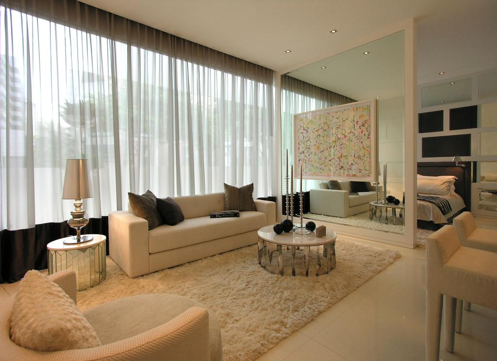 Scotts Square Show-unit 1, Commercial, Architect, Wallflower Architecture + Design, Modern, Living Room, Indoors, Interior Design, Couch, Furniture, Tree Stump, Room
