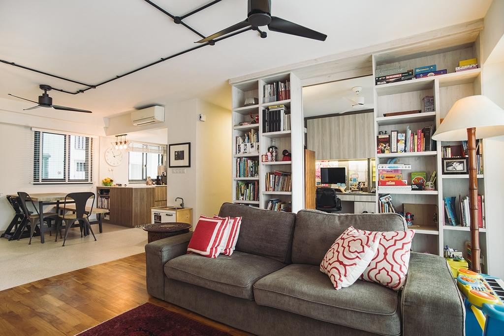 Contemporary, HDB, Living Room, Cantonment, Interior Designer, Urban Habitat Design, Retro, Dining Table, Furniture, Table, Couch, Building, Housing, Indoors, Loft